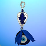 Divya Mantra Decorative Evil Eye Sri Ganesha Pendant Amulet for Car Rear View Mirror Decor Ornament Accessories/Good Luck Charm Protection Interior Wall Hanging Showpiece - Divya Mantra
