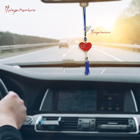 Divya Mantra Decorative Evil Eye Red Heart Pendant Amulet for Car Rear View Mirror Decor Ornament Accessories/Good Luck Charm Protection Interior Wall Hanging Showpiece - Divya Mantra