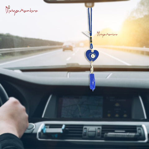 Divya Mantra Decorative Evil Eye Blue Heart Pendant Amulet for Car Rear View Mirror Decor Ornament Accessories/Good Luck Charm Protection Interior Wall Hanging Showpiece - Divya Mantra