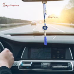 Divya Mantra Decorative Evil Eye Blue Dot Pendant Amulet for Car Rear View Mirror Decor Ornament Accessories/Good Luck Charm Protection Interior Wall Hanging Showpiece - Divya Mantra