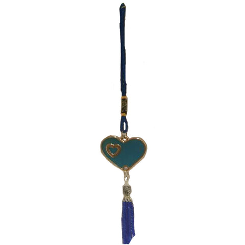 Divya Mantra Decorative Evil Eye Blue Heart Beat Pendant Amulet for Car Rear View Mirror Decor Ornament Accessories/Good Luck Charm Protection Interior Wall Hanging Showpiece - Divya Mantra