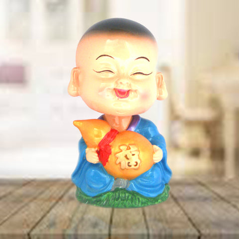Divya Mantra Feng Shui Lovely Baby Buddha Wu Lou Gourd Swing Little Monk Car Interior Decoration Dashboard Accessories Spring Arts and Crafts Gift
