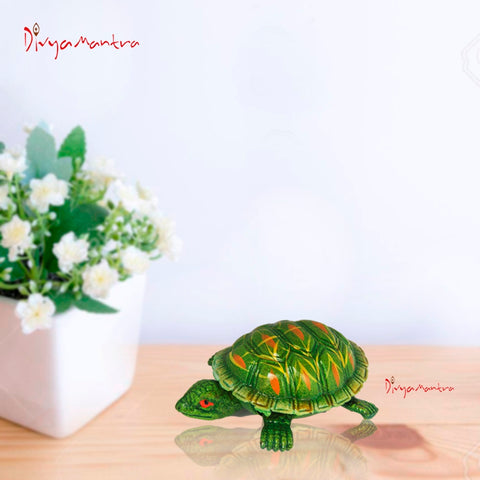 Divya Mantra Feng Shui Vastu Tortoise Turtle Swing Spring Arts And Crafts Brown Cash Almirah / Fridge Magnet Green - Divya Mantra