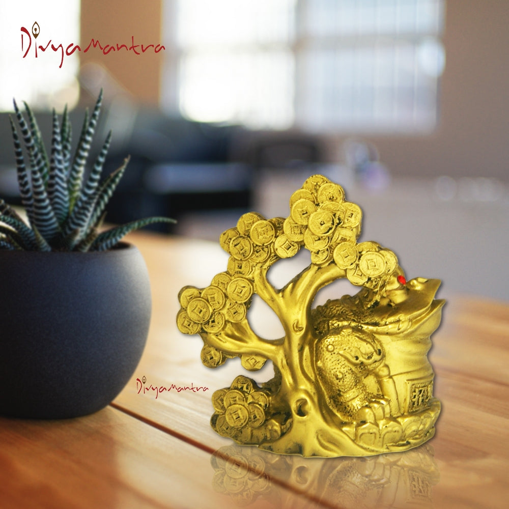 Divya Mantra Feng Shui King Money Toad Three Legged Frog on Coin Wealth  Money Tree For Prosperity Financial Business Good Luck