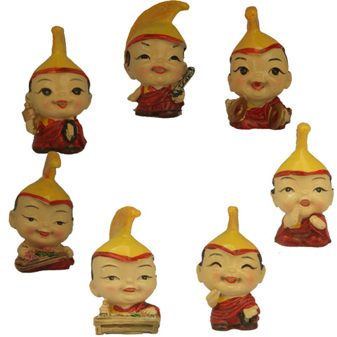 Divya Mantra Feng Shui Lovely Baby Buddha Monk Musical Lama Gift Set of 7 Little Showpiece Car Interior Decoration Dashboard Accessories Arts And Crafts - Divya Mantra