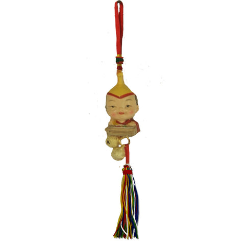 Divya Mantra Feng Shui Car Decoration Rear View Mirror Hanging Bell Accessories Tibetan Feng Shui Baby Buddha Musical Lama Monk - Divya Mantra