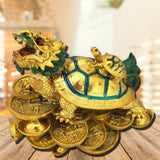 Divya Mantra Feng Shui Dragon Headed Tortoise With Baby Standing on Wealth Bed For Good Luck Abundance Prosperity - Divya Mantra