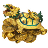 Divya Mantra Feng Shui Dragon Headed Tortoise With Baby Standing on Wealth Bed For Good Luck Abundance Prosperity