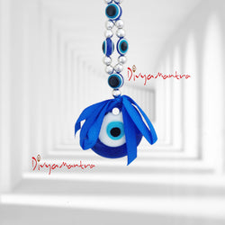 Divya Mantra Decorative Evil Eye Six Hamsa Pendant Amulet for Car Rear View Mirror Decor Ornament Accessories/Good Luck Charm Protection Interior Wall Hanging Showpiece - Divya Mantra