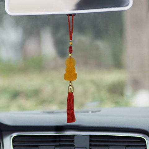 Divya Mantra Decorative Orange Gautam Buddha Pendant Amulet for Car Rear View Mirror Decor Ornament Accessories/Good Luck Charm Protection Interior Wall Hanging Showpiece - Divya Mantra