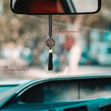 Divya Mantra Decorative Black Chinese Feng Shui Talisman Gift Pendant Amulet for Car Rear View Mirror Decor Ornament Accessories/ Good Luck Charm Protection Interior Wall Hanging Showpiece - Divya Mantra