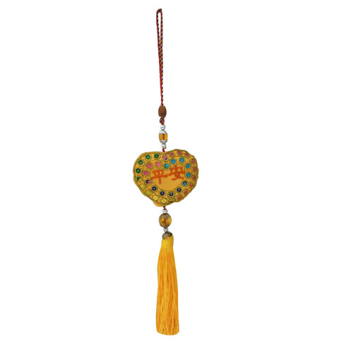 Divya Mantra Decorative Potali / Money Bag Feng Shui Talisman Gift Pendant Amulet for Car Rear View Mirror Decor Ornament Accessories/Good Luck Charm Protection Interior Wall Hanging Showpiece - Divya Mantra