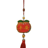 Divya Mantra Decorative Apple Potali / Money Bag Feng Shui Talisman Gift Pendant Amulet for Car Rear View Mirror Decor Ornament Accessories/Good Luck Charm Protection Interior Wall Hanging Showpiece - Divya Mantra
