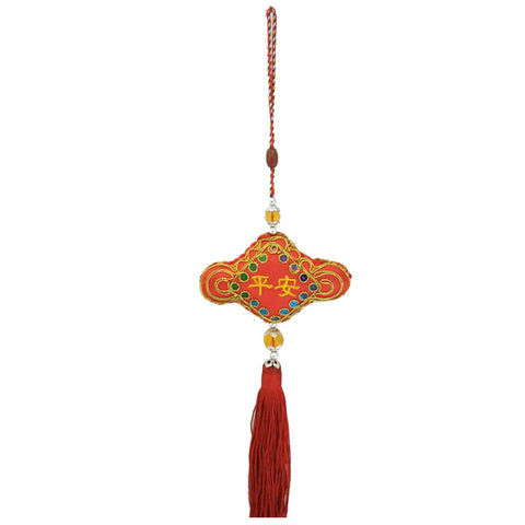 Divya Mantra Decorative Chinese Potali / Money Bag Feng Shui Talisman Gift Pendant Amulet for Car Rear View Mirror Decor Ornament Accessories/Good Luck Charm Protection Interior Wall Hanging Showpiece - Divya Mantra