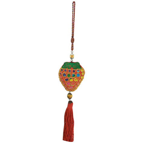 Divya Mantra Decorative Fruit Shaped Potali / Money Bag Feng Shui Talisman Gift Pendant Amulet for Car Rear View Mirror Decor Ornament Accessories/Good Luck Charm Protection Interior Wall Hanging Showpiece - Divya Mantra