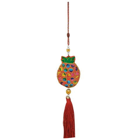 Divya Mantra Decorative Potali / Wealth Bag Feng Shui Talisman Gift Pendant Amulet for Car Rear View Mirror Decor Ornament Accessories/Good Luck Charm Protection Interior Wall Hanging Showpiece