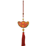 Divya Mantra Decorative Potali / Money Bag Feng Shui Ingot Talisman Gift Pendant Amulet for Car Rear View Mirror Decor Ornament Accessories/Good Luck Charm Protection Interior Wall Hanging Showpiece - Divya Mantra