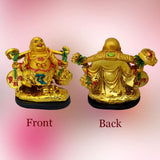 Divya Mantra Japanese Asakusa Temple Lucky Charm Turtle 2 Pairs Home Decor Statues & Feng shui Happy Man Laughing Buddha Holding Wealth Coin, Ingots for Attracting Money, Financial Luck - Gold, Silver - Divya Mantra
