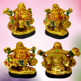 Divya Mantra Happy Man Laughing Buddha Holding Wealth Coin and Ingots Statue For Attracting Money Prosperity Financial Luck Home Decor Gift - Divya Mantra