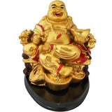 Divya Mantra Happy Man Laughing Buddha Sitting and Holding Ingot Statue For Attracting Money Wealth Prosperity Financial Luck