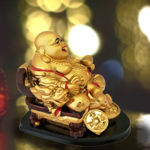 Divya Mantra Happy Man Laughing Buddha Sitting and Holding Ingot Statue For Attracting Money Wealth Prosperity Financial Luck - Divya Mantra