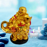 Divya Mantra Happy Man Laughing Buddha Riding Trunk Up Elephant and Holding Ingot Statue For Attracting Money Wealth Prosperity Wisdom Strength Luck
