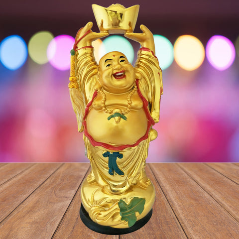 Divya Mantra Happy Man Laughing Buddha Holding Ingot with Hands Upright Statue For Abundance Money Wealth Prosperity Good Luck - Divya Mantra
