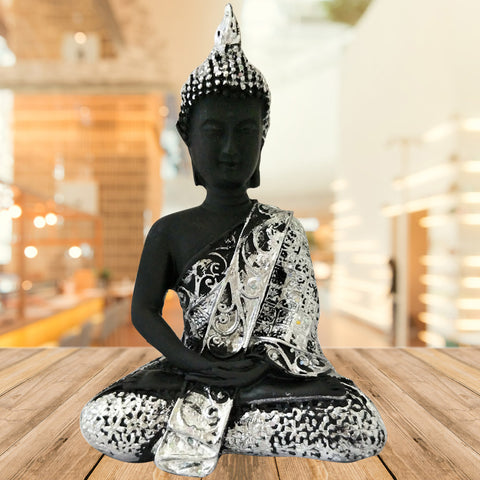 Divya Mantra Meditating Gautam Buddha Murti Sculpture Statue Puja / Car Dashboard Idol For Peace and Serenity