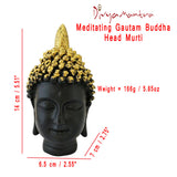 Divya Mantra Meditating Gautam Buddha Head Murti Sculpture Statue Puja / Car Dashboard Idol For Peace and Serenity