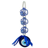 Divya Mantra Decorative Evil Eye Triple Om Ganesha Pendant Amulet for Car Rear View Mirror Decor Ornament Accessories/Good Luck Charm Protection Interior Wall Hanging Showpiece Blue - Divya Mantra