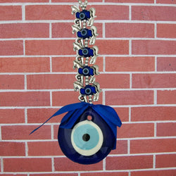 Decorative Five 5 Horses Evil Eye Pendant Amulet for Car Rear View Mirror Decor Ornament Accessories/Good Luck Charm Protection Interior Wall Hanging Showpiece - Divya Mantra