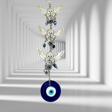 Divya Mantra Decorative Three 3 Eagles Evil Eye Pendant Amulet for Car Rear View Mirror Decor Ornament Accessories/Good Luck Charm Protection Interior Wall Hanging Showpiece - Divya Mantra