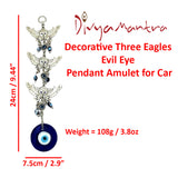 Divya Mantra Decorative Three 3 Eagles Evil Eye Pendant Amulet for Car Rear View Mirror Decor Ornament Accessories/Good Luck Charm Protection Interior Wall Hanging Showpiece