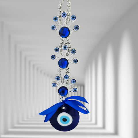 Divya Mantra Decorative Three 3 Devil Feet Evil Eye Pendant Amulet for Car Rear View Mirror Decor Ornament Accessories/Good Luck Charm Protection Interior Wall Hanging Showpiece
