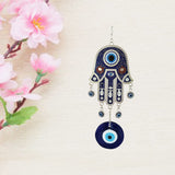 Divya Mantra Decorative Turkish Hamsa Hand Evil Eye Pendant Amulet for Car Rear View Mirror Decor Ornament Accessories/Good Luck Charm Protection Interior Wall Hanging Showpiece - Divya Mantra