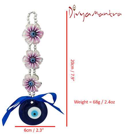 Divya Mantra Decorative Three 3 Petals Evil Eye Pendant Amulet for Car Rear View Mirror Decor Ornament Accessories/Good Luck Charm Protection Interior Wall Hanging Showpiece - Divya Mantra