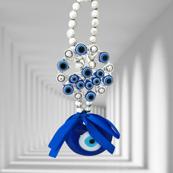 Divya Mantra Decorative Flower Evil Eye Pendant Amulet for Car Rear View Mirror Decor Ornament Accessories/Good Luck Charm Protection Interior Wall Hanging Showpiece - Divya Mantra