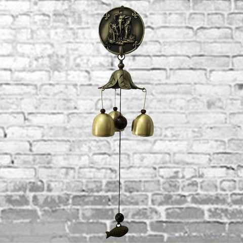 Divya Mantra Feng Shui 3 Fengling Bells Elephant Metal Good Luck Bronze Windchime Gift For Home - Divya Mantra