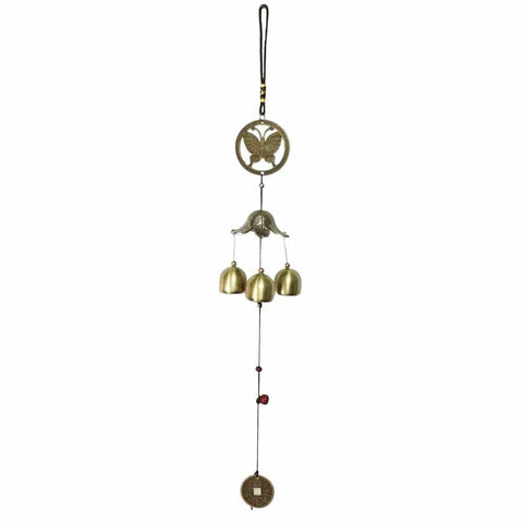 Divya Mantra Feng Shui 3 Fengling Bells Butterfly Metal Good Luck Bronze Windchime Gift For Home - Divya Mantra