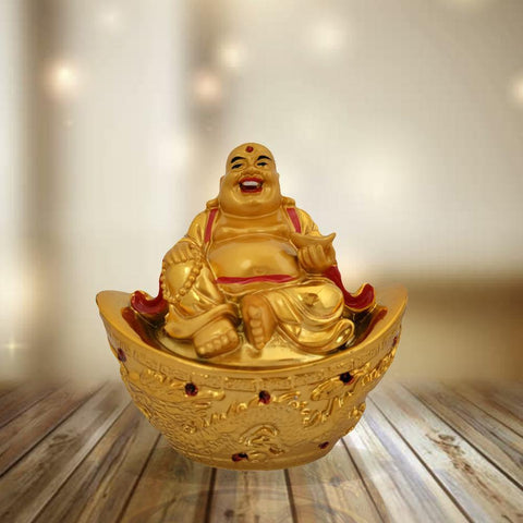 Divya Mantra Happy Man Laughing Buddha Sitting on Gold Ingot Yuan Bao For Attracting Abundance Wealth Financial Prosperity Good Luck