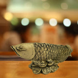 Divya Mantra Feng Shui Wealth Inviting Arowana Fish on Bed of Coins for Fortune and Abundance - Divya Mantra