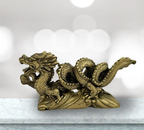 Divya Mantra Feng Shui Antique Finish Dragon Gasping Ball Good Luck Symbol for Prosperity Career Success - Divya Mantra
