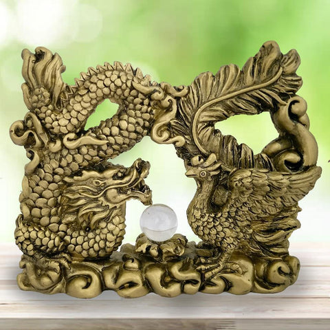 Divya Mantra Feng Shui Dragon Gasping Ball and Pheonix Dragon Good Luck Symbol Prosperity Career Success Love Luck