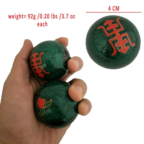 Divya Mantra Chinese Therapy Hand Exercise Baoding Health Balls in Chrome Plated Steel with Chimes For Stress Relieving and Longevity - Divya Mantra
