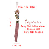 Divya Mantra Pink Chinese Feng Shui Button Stopper KNot Talisman Gift Pendant Amulet for Car Rear View Mirror Decor Ornament Accessories/ Good Luck Charm Protection Interior Wall Hanging Showpiece - Divya Mantra