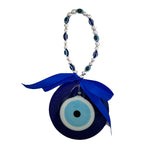 Divya Mantra Decorative Ring Evil Eye Pendant Amulet for Car Rear View Mirror Decor Ornament Accessories/Good Luck Charm Protection Interior Wall Hanging Showpiece - Divya Mantra