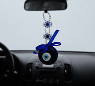 Divya Mantra Decorative Devil Evil Eye Pendant Amulet for Car Rear View Mirror Decor Ornament Accessories/Good Luck Charm Protection Interior Wall Hanging Showpiece - Divya Mantra
