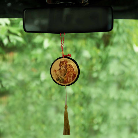 Divya Mantra Shri Radha Krishna Talisman Gift Pendant Amulet for Car Rear View Mirror Decor Ornament Accessories/Good Luck Charm Protection Interior Wall Hanging Showpiece
