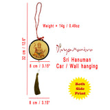 Divya Mantra Sri Bajrang Bali Hanuman Talisman Gift Pendant Amulet for Car Rear View Mirror Decor Ornament Accessories/Good Luck Charm Protection Interior Wall Hanging Showpiece - Combo Set of 2