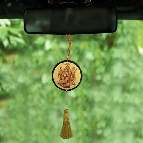 Divya Mantra Sri Ram Darbar Talisman Gift Pendant Amulet for Car Rear View Mirror Decor Ornament Accessories/Good Luck Charm Protection Interior Wall Hanging Showpiece